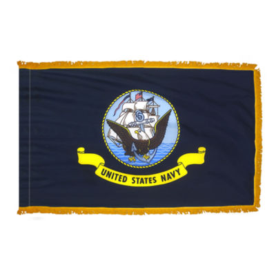 U.S. Navy Military Flag 3x5 ft. Pole Sleeve and Gold Fringe 100% Made in USA to Official Specifications. Annin Flagmakers is an Officially Licensed Manufacturer. Model 439030