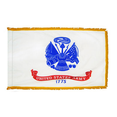 U.S. Army Military Flag 3x5 ft. Pole Sleeve and Gold Fringe 100% Made in USA to Official Specifications. Annin Flagmakers is an Officially Licensed Manufacturer. Model 439035