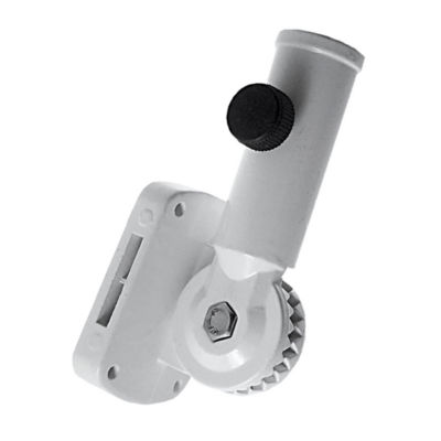 White Aluminum Flagpole Bracket  hold 1 in. Diameter pole