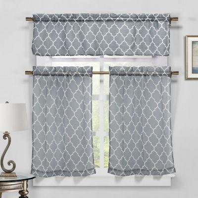 Geo Faux Linen Kitchen Curtain