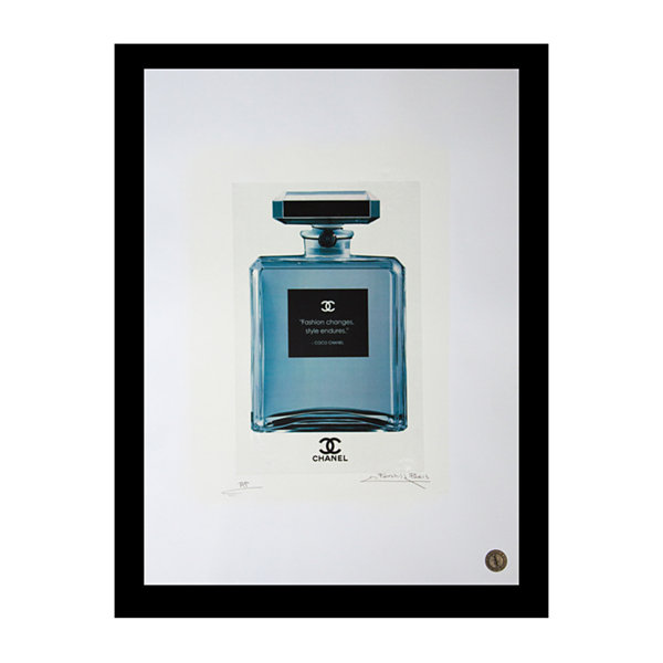 Fairchild Paris Blue Chanel No. 5 Fashion Quote Framed Wall Art