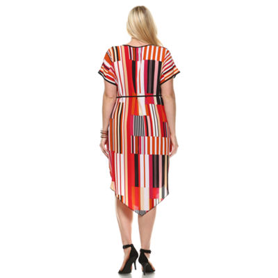 White Mark Printed 'Ruby' Midi Dress - Plus