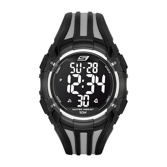 Skechers El Porto Mens Digital Black Strap Watch-Sr1006