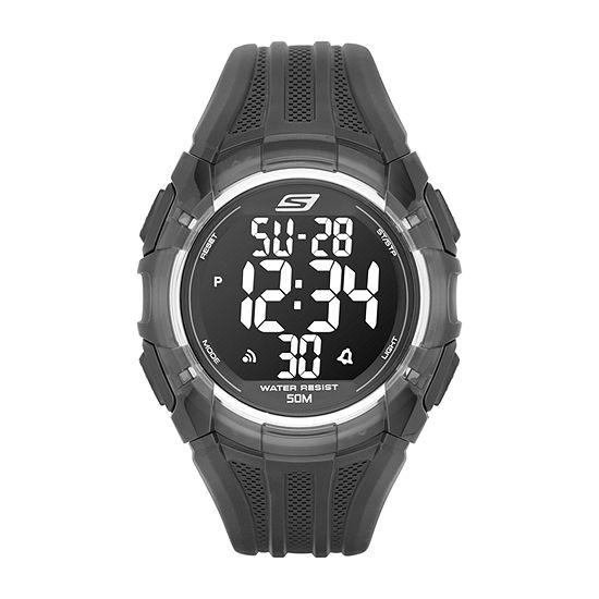 Skechers El Porto Mens Digital Black Strap Watch-Sr1008