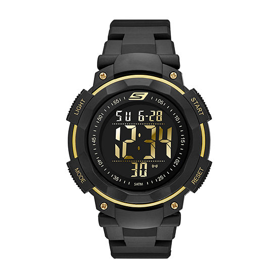 Skechers Ruhland Mens Chronograph Digital Black Strap Watch-Sr1019