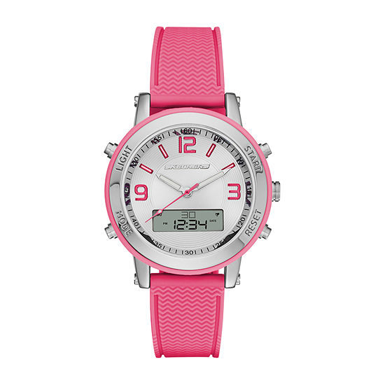 Skechers Lynngrove Womens Chronograph Pink Strap Watch-Sr6002