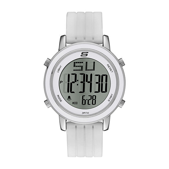 Skechers Westport Womens Chronograph Digital White Strap Watch-Sr6009