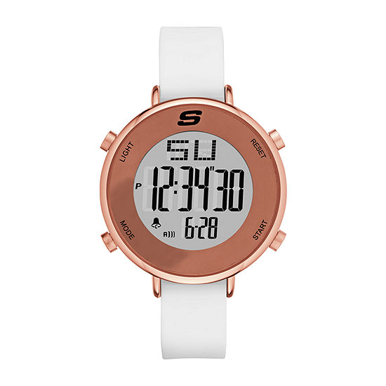 Skechers Magnolia Womens Chronograph Digital White Strap Watch-Sr6066