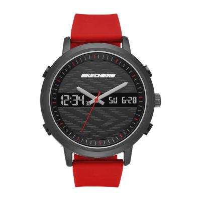 Skechers Lawndale Mens Red Strap Watch-Sr5073