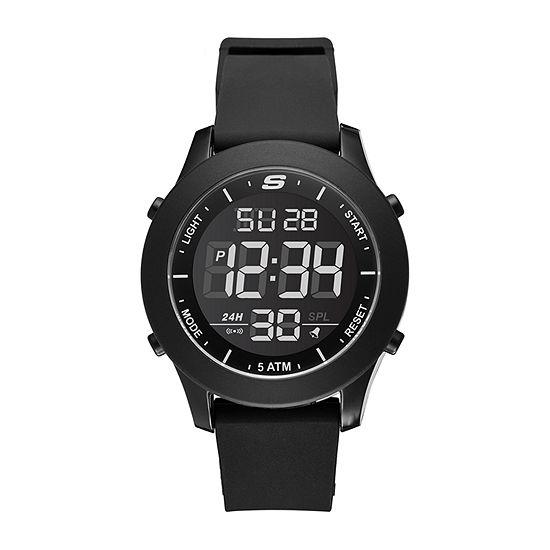 Skechers Rosencrans Digital Oversize Mens Chronograph Digital Black Strap Watch-Sr5107