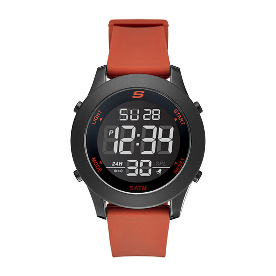 Skechers Rosencrans Digital Oversize Mens Chronograph Digital Red Strap Watch-Sr5109