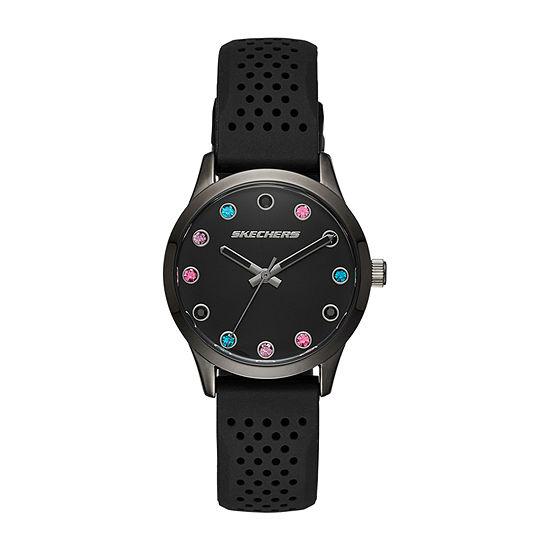 Skechers Dianthus Womens Black Strap Watch-Sr6091