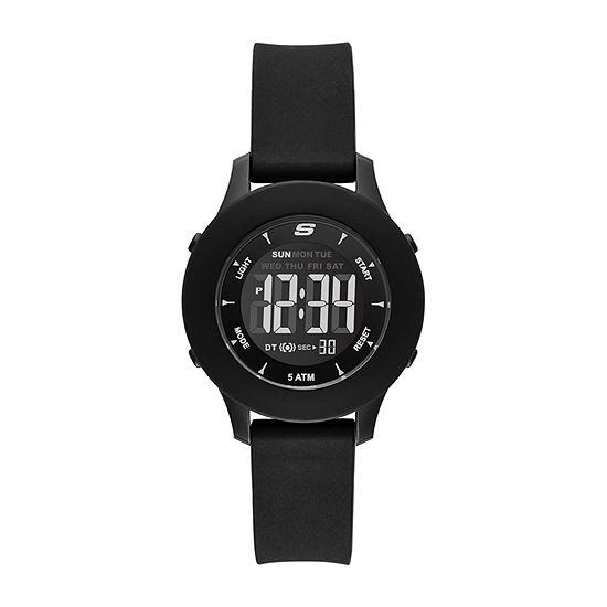 Skechers Rosencrans Digital Mini Womens Chronograph Digital Black Strap Watch-Sr6141