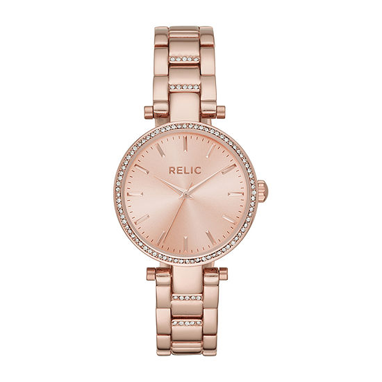 Relic By Fossil Abigail Womens Rose Goldtone Bracelet Watch-Zr34547