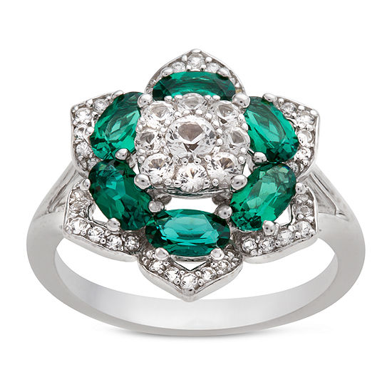 Womens Lab Created Green Emerald Sterling Silver Flower Cocktail Ring