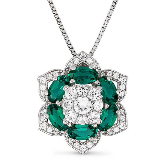 Womens Lab Created Green Emerald Sterling Silver Flower Pendant Necklace