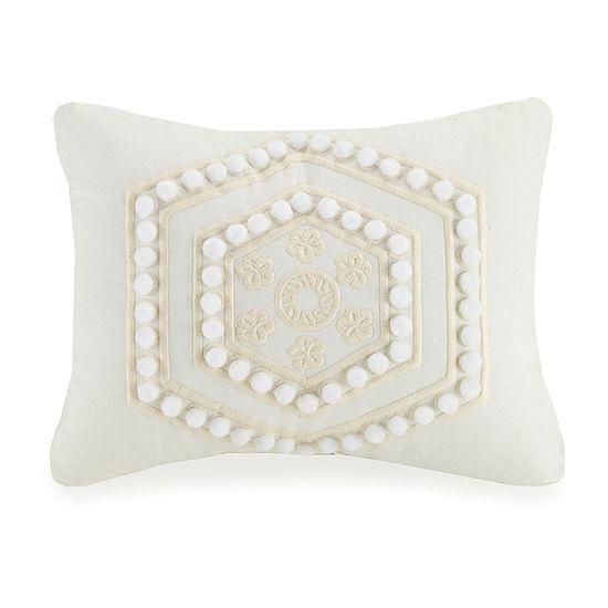 Mary Jane's Home Pom Pom Rectangular Throw Pillow