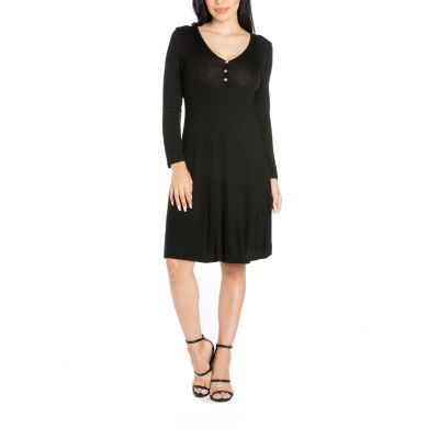 24/7 Comfort Apparel Long Sleeve A-Line Dress