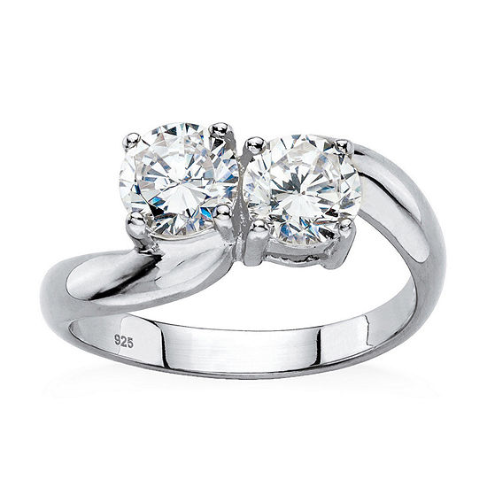 Diamonart Womens 2 CT. T.W. White Cubic Zirconia Platinum Over Silver Cocktail Ring