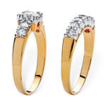 Womens 2 1/5 CT. T.W. White Cubic Zirconia 18K Gold Over Brass Bridal Set