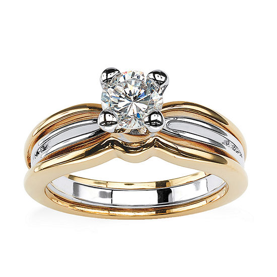 Womens 7/8 CT. T.W. White Cubic Zirconia 18K Gold Over Brass Engagement Ring