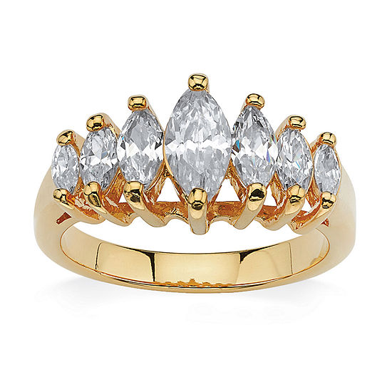 Womens 1 1/2 CT. T.W. White Cubic Zirconia 18K Gold Over Brass Engagement Ring