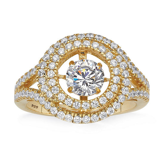 Diamonart Womens 1 3/4 CT. T.W. White Cubic Zirconia 14K Gold Over Silver Cocktail Ring