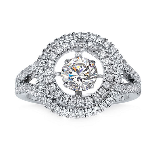 DiamonArt® Womens 1 3/4 CT. T.W. White Cubic Zirconia Platinum Over Silver Cocktail Ring