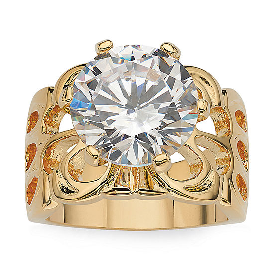 Womens 6 CT. T.W. White Cubic Zirconia 14K Gold Over Brass Engagement Ring