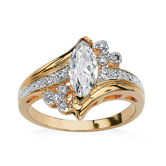Womens 1 1/10 CT. T.W.  White Cubic Zirconia 14K Gold Over Brass Engagement Ring