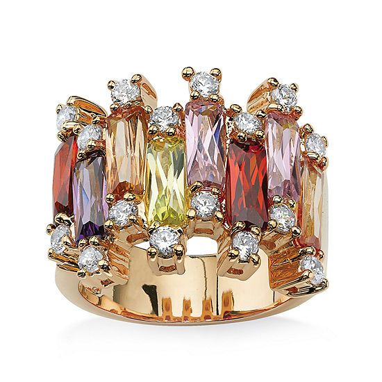 Womens Multi Color Cubic Zirconia 14K Gold Over Brass Cocktail Ring