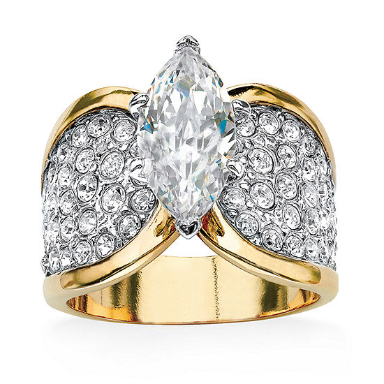 Womens 2 1/2 CT. T.W. White Cubic Zirconia 14K Gold Over Brass Cocktail Ring