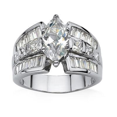 Diamonart Womens White Cubic Zirconia Engagement Ring