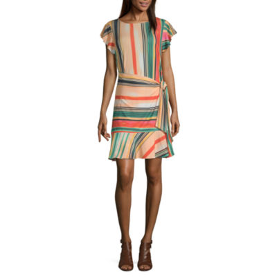Weslee Rose Short Sleeve Striped Fit & Flare Dress