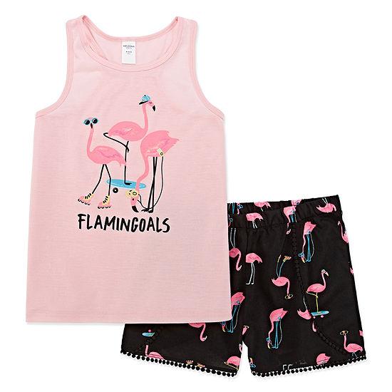 Arizona Flamingoals 2pc.Shorts Pajama Set - Big Girls & Plus