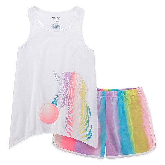 Arizona 2-pc. Zebracorn Short Pajama Set - Big Girls & Plus