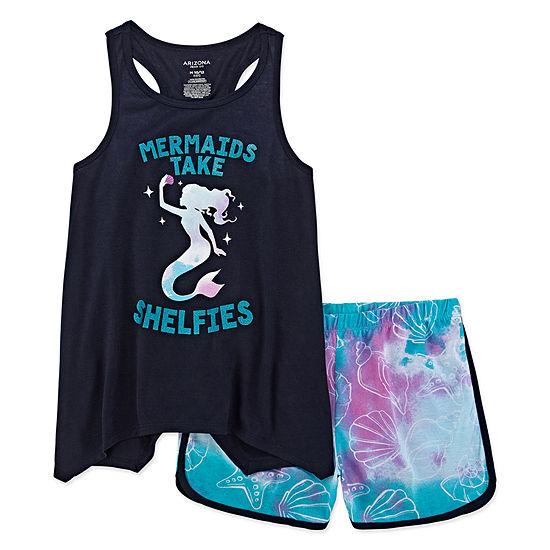 Arizona 2pc. Mermaids Take Selfies Short Pajama Set - Big Girl & Plus