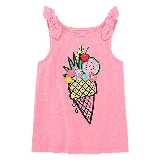Okie Dokie Girls Round Neck Embellished Tank Top - Toddler