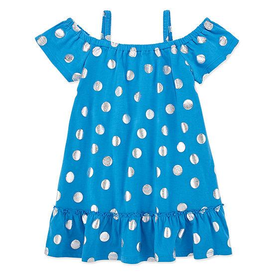 Okie Dokie Girls Short Sleeve Cold Shoulder Sleeve Sundress - Toddler