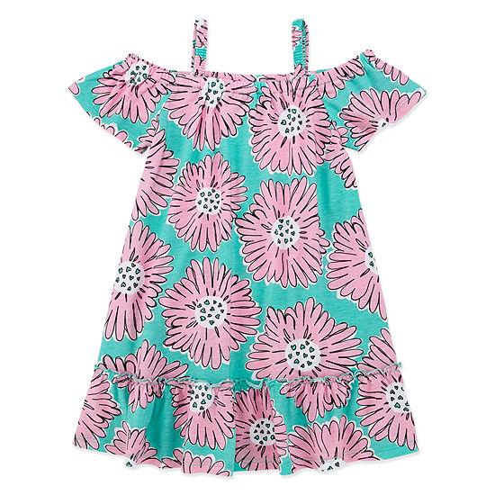 Okie Dokie Toddler Girls Short Sleeve Cold Shoulder Sleeve Sundress