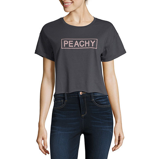 Cut And Paste-Juniors Womens Round Neck Short Sleeve Graphic T-Shirt