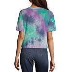 Juniors Womens Crew Neck Short Sleeve Graphic T-Shirt