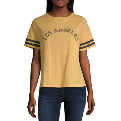 Womens V Neck Short Sleeve Graphic T-Shirt-Juniors