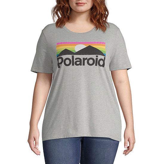 Mighty Fine Womens Crew Neck Short Sleeve Graphic T-Shirt-Juniors Plus