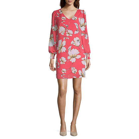 Worthington Long Sleeve Floral Sheath Dress