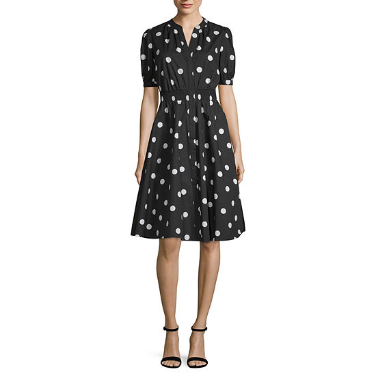 Worthington Short Sleeve Midi Blouson Dress