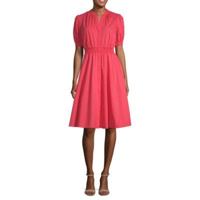 Worthington Short Sleeve Blouson Dress