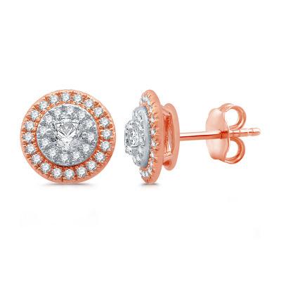1 CT. T.W. Genuine White Diamond 10K Two Tone Gold Stud Earrings