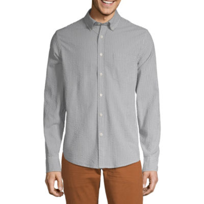 Peyton & Parker Mens Long Sleeve Striped Button-Front Shirt