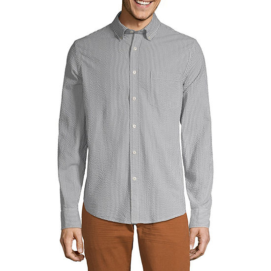 Peyton & Parker Mens Long Sleeve Striped Button-Down Shirt